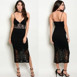 Mystic Black/Tan Lace Dress